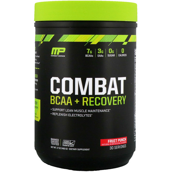 MusclePharm, Combat BCAA + Recovery, Fruit Punch, 17 oz (483 g) (Discontinued Item)
