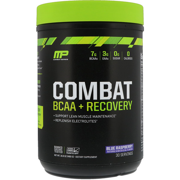 MusclePharm, Combat BCAA + Recovery, Blue Raspberry, 16.9 oz (480 g) (Discontinued Item)