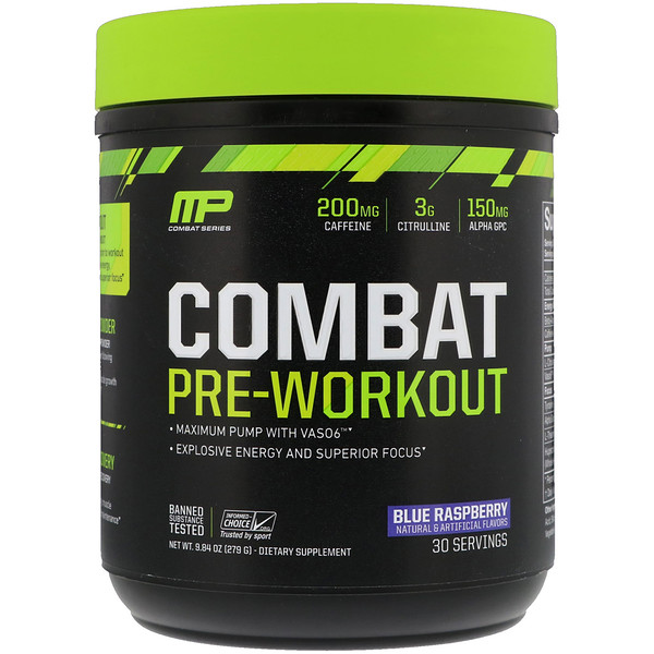MusclePharm, Combat Pre-Workout, Blue Raspberry, 9、84 oz (279 g)