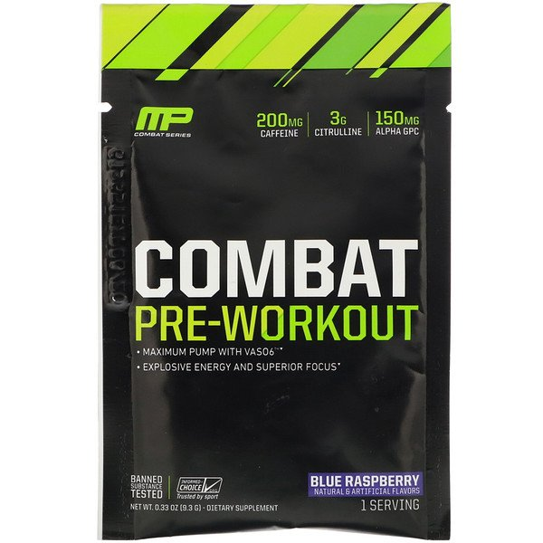 MusclePharm, Combat, Pre-Workout, Blue Raspberry, 0.33 oz (9.3 g) Trial Size  (Discontinued Item)