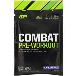 Мусклефарм, Combat, Pre-Workout, Blue Raspberry, 0.33 oz (9.3 g) Trial Size отзывы покупателей