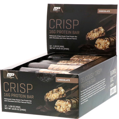 Купить MusclePharm Белковые батончики Combat Crisp, шоколад, 12 батончиков, по 1, 59 унции (45 г) каждый