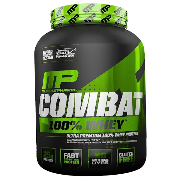 MusclePharm, Combat 100% Whey Protein, Cappuccino, 5 lbs (2269 g) (Discontinued Item)