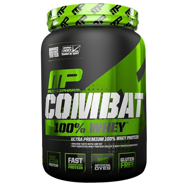 MusclePharm, Combat 100% Whey Protein, Cappuccino, 2 lbs (907 g) (Discontinued Item)