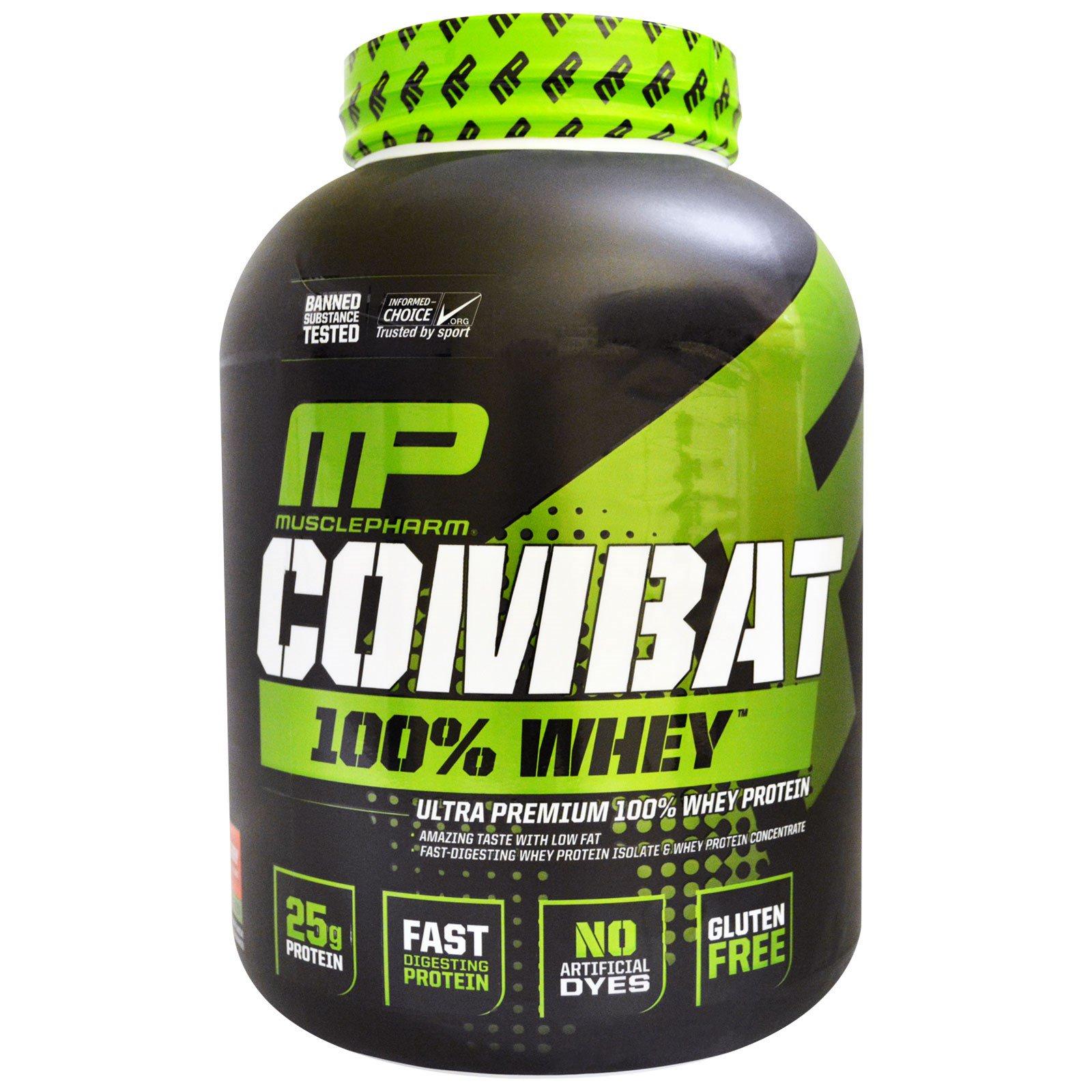 MusclePharm, Combat, 100% сывороточный протеин, клубника, 80 унции (2269 г)
