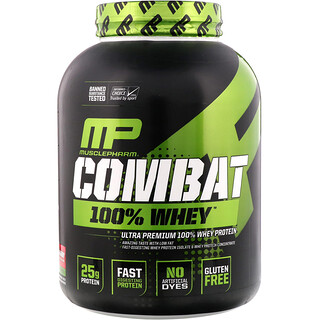 MusclePharm, Combat, 100% Whey Protein, Strawberry, 5 lbs (2269 g)