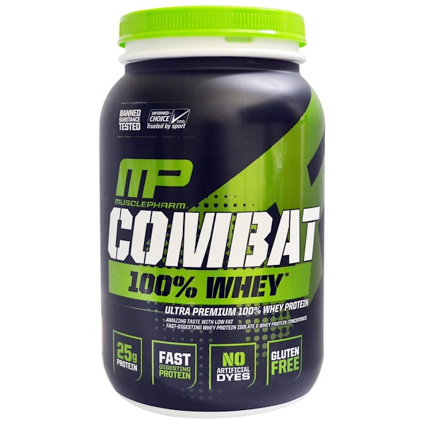 MusclePharm, Combat 100% Whey Protein, Strawberry, 2 lbs (907 g) (Discontinued Item)