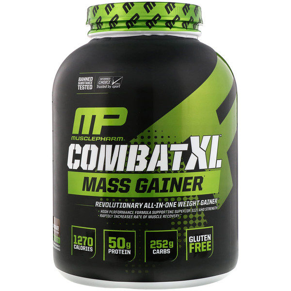 MusclePharm, Combate XL Generador de masa, Chocolate, 6 libras (2722 g)
