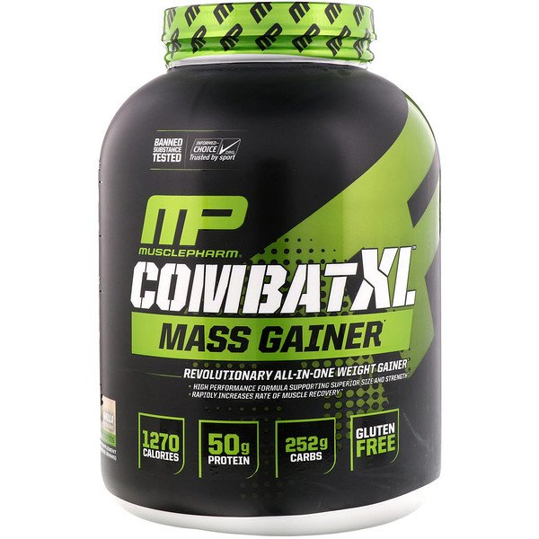 MusclePharm, Combat XL Mass Gainer, וניל, 2,722 גר' (6 lbs)