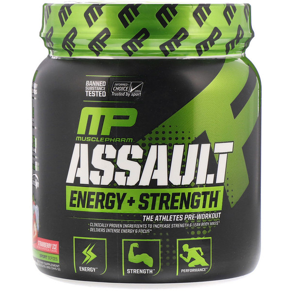 Assault Energy + Strength, Pre-Workout, Strawberry Ice, 0.76 lbs  (345 g)