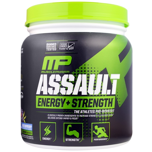 MusclePharm, Assault Energy + Strength, Blue Raspberry, 12.17 oz (345 g)