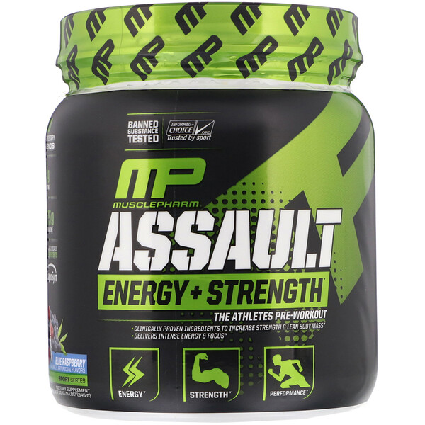 Assault Energy + Strength, Pre-Workout, Blue Raspberry, 0.76 lbs (345 g)