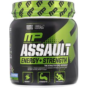 Мусклефарм, Assault Energy + Strength, Pre-Workout, Blue Raspberry, 0.76 lbs (345 g) отзывы покупателей