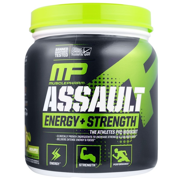 MusclePharm, Assault, Energy + Strength, Pre-Workout, Green Apple, 0.73 lbs (333 g)