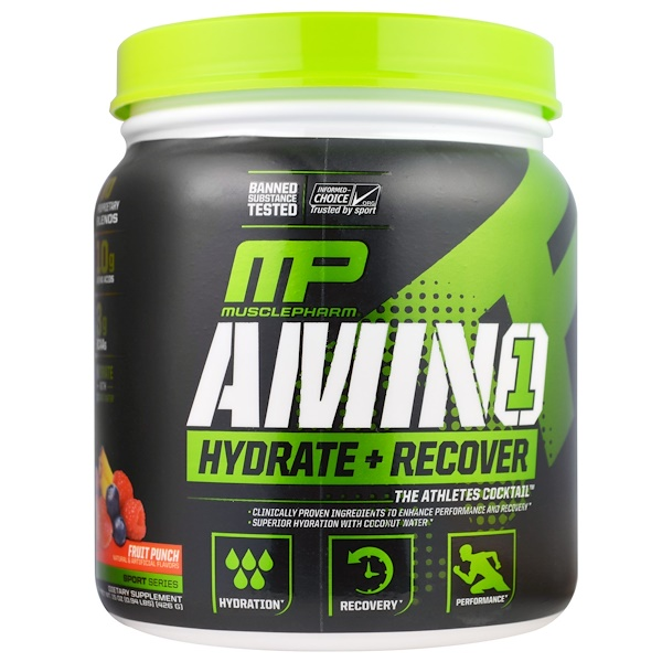 MusclePharm, Amino 1, Hydrate + Recover, Fruit Punch, 、15 oz (426 g)