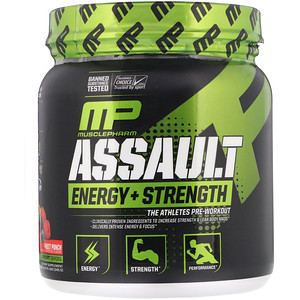 Мусклефарм, Assault Energy + Strength, Pre-Workout, Fruit Punch, 0.76 lbs (345 g) отзывы покупателей
