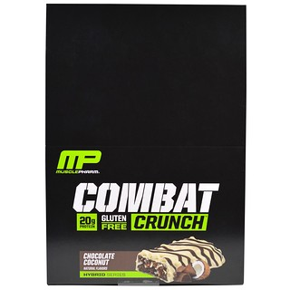 MusclePharm, 콤배트 크런치, 초콜릿 코코넛, 12 Bars, (63 g) 각각