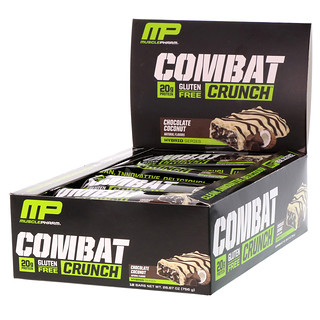 MusclePharm, コンバットクランチ、チョコレートココナッツ、12本、各 (63 g)