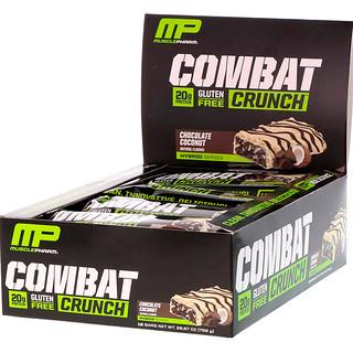MusclePharm, Combat Crunch,巧克力椰子,12條營養棒, (63 g) 每條