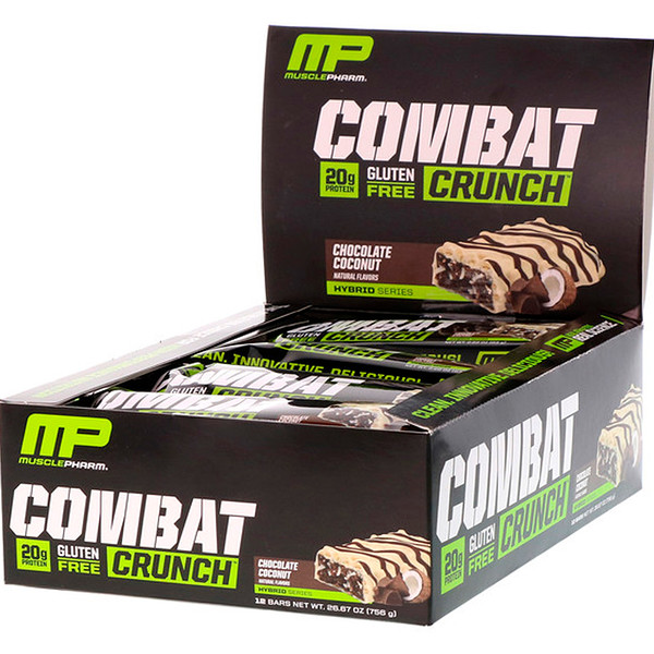 MusclePharm, Combat Crunch, Chocolate Coconut, 12 Bars, (63 g) Each (Discontinued Item)
