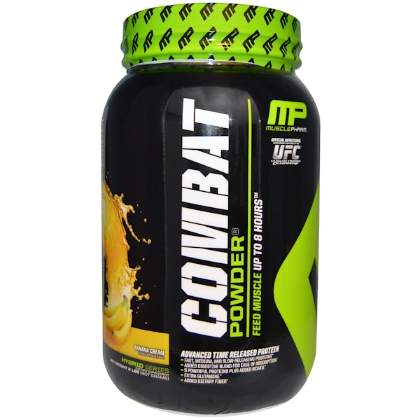 MusclePharm, Combat Powder, Advanced Time Released Protein, Banana Cream, 2 lbs (907 g) (Discontinued Item)