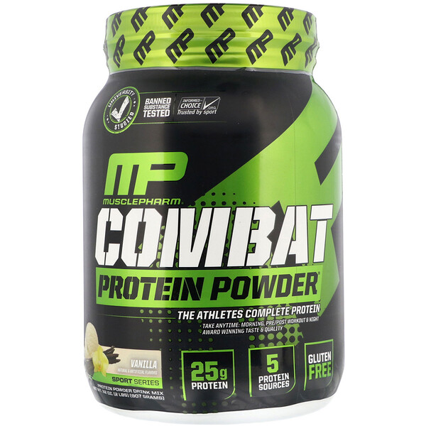 MusclePharm, Combat Protein Powder, וניל, 907 גר'
