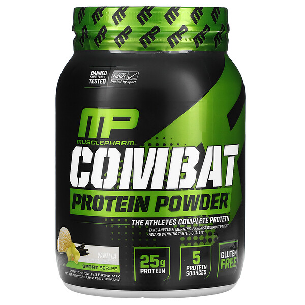 MusclePharm, Combat Protein Powder, Vanilla, 2 lbs (907 g)