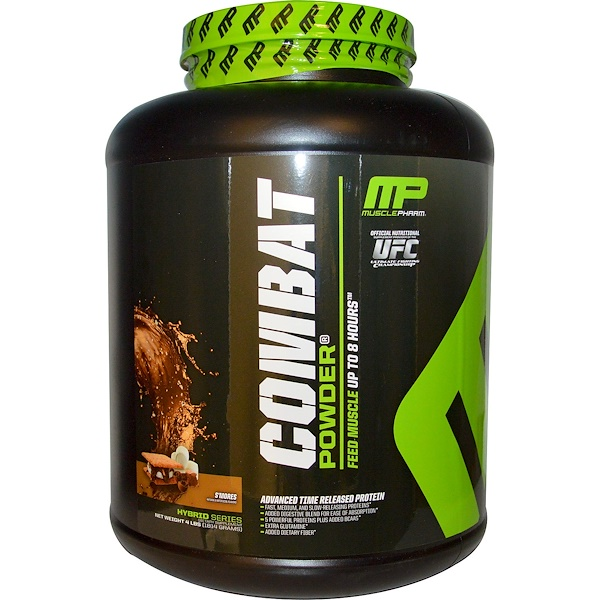MusclePharm, Combat Powder, Advanced Time Release Protein, S'Mores, 4 lbs (1814 g) (Discontinued Item)