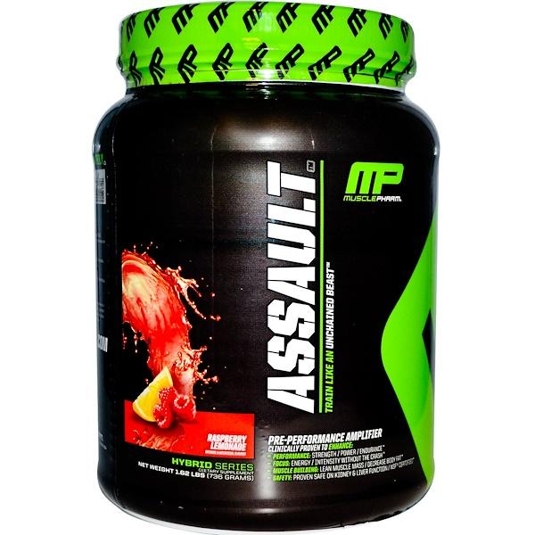 MusclePharm, Assault, Pre-Performance Amplifier, Raspberry Lemonade, 1.62 lbs (736 g) (Discontinued Item)