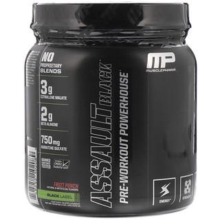 MusclePharm, アサルトブラック、プレワークアウトパワーハウス、フルーツポンチ、13.12オンス (372 g)