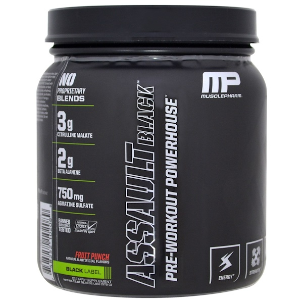 MusclePharm, Assault Black, Pre-Workout Powerhouse, Fruit Punch, 13.12 oz (372 g)