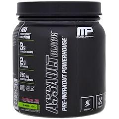 MusclePharm, アサルト・ブラック, プレワークアウト・パワーハウス, ストロベリーライム, 12.27 oz (348 g)
