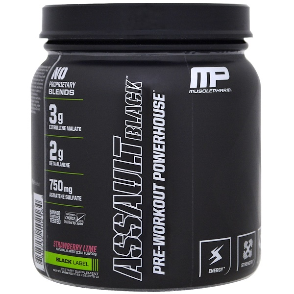 MusclePharm, Assault Black, Pre-Workout Powerhouse, Strawberry Lime, 12.27 oz (348 g) (Discontinued Item)