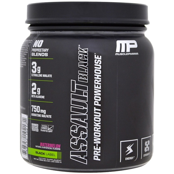 MusclePharm, Assault Black, Pre-Workout Powerhouse, Watermelon, 12.91 oz (366 g) (Discontinued Item)