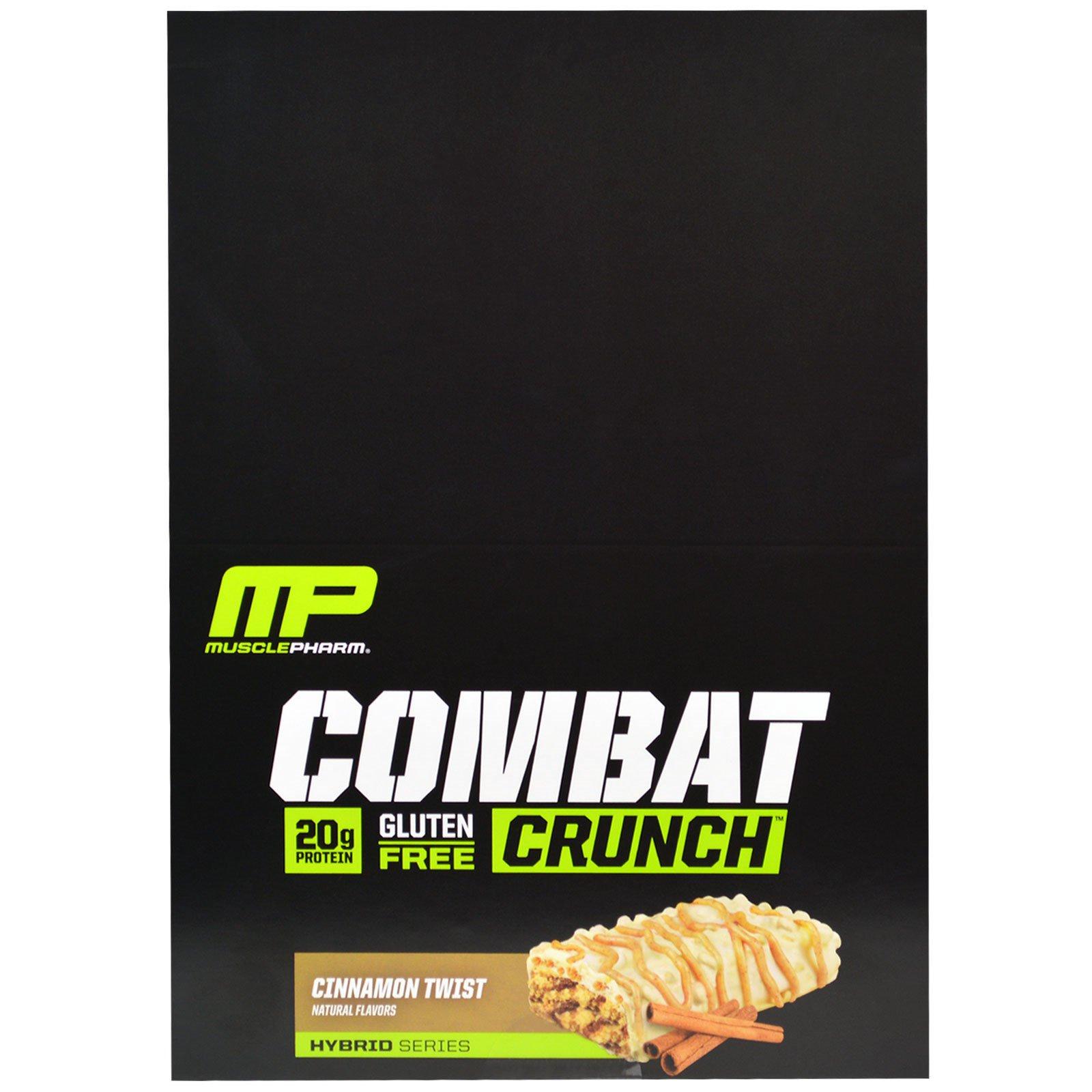 MusclePharm, Combat Crunch, корица, 12 батончиков, 63 г каждый