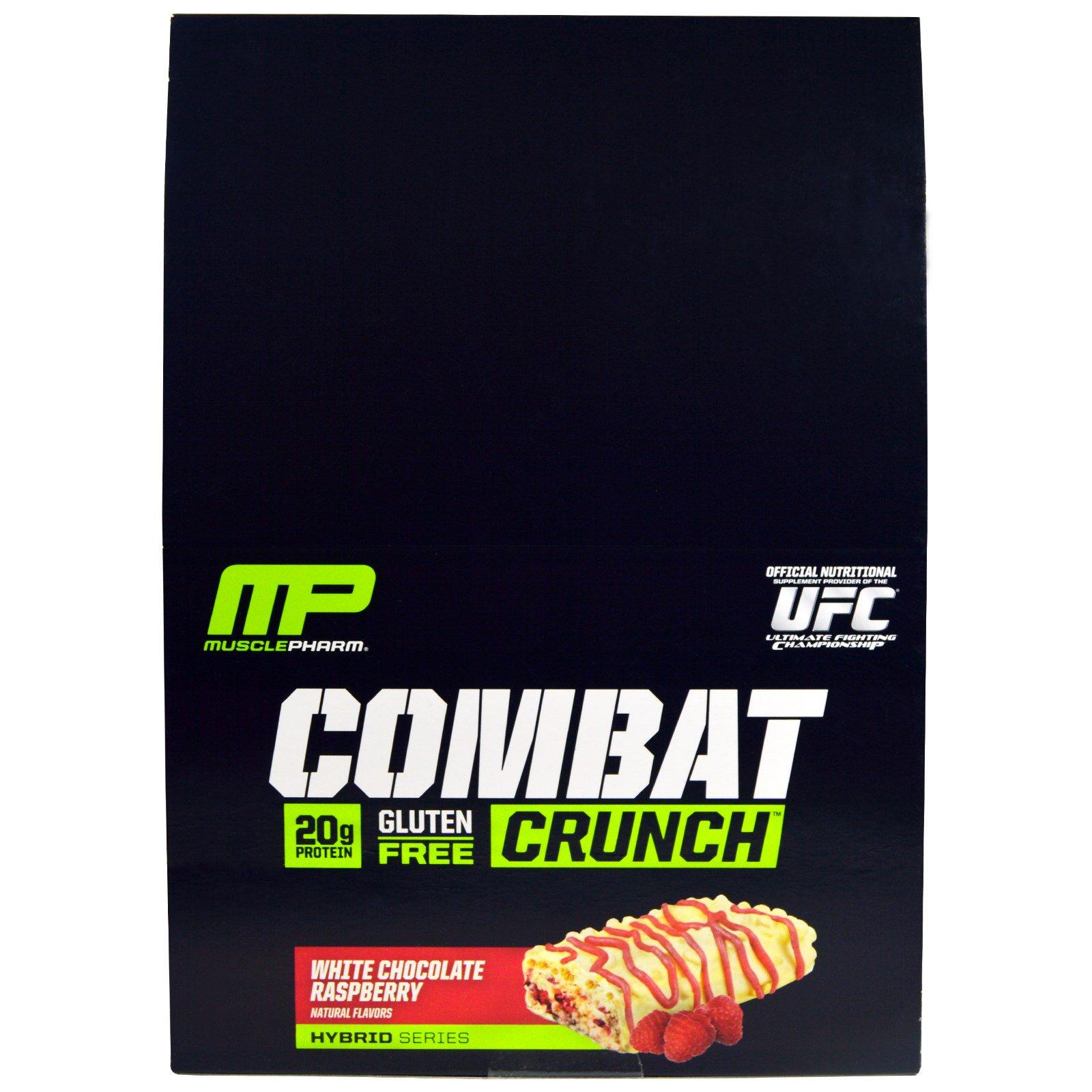 MusclePharm, Combat Crunch, Малина и белый шоколад, 12 батончиков, 2,22 унции (63 г) каждый