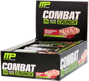 Мусклефарм, Combat Crunch, White Chocolate Raspberry, 12 Bars, 2.22 oz (63 g) Each отзывы покупателей