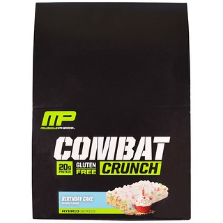 MusclePharm, Combat Crunch, Birthday Cake, 12 Bars, 2.22 oz (63 g) Each