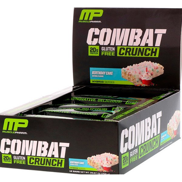 MusclePharm, Combat Crunch, Bolo De Aniversário, 12 barras, 63g cada (Discontinued Item)