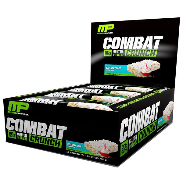 MusclePharm, Combat Crunch, Birthday Cake, 12 Bars, 2.22 oz (63 g) Each