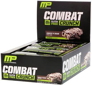 MusclePharm, Combat Crunch,曲奇和奶油,12 條營養棒,每條 2.22 盎司 (63 g)