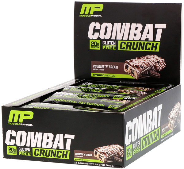 MusclePharm, Combat Crunch, Cookies 'N' Cream, 12 Barras, 63 g (2,22 onças) Cada