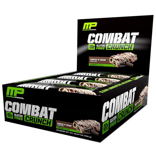 MusclePharm, Combat Crunch,曲奇和奶油,12 條營養棒,每條 2、22 盎司 (63 g)