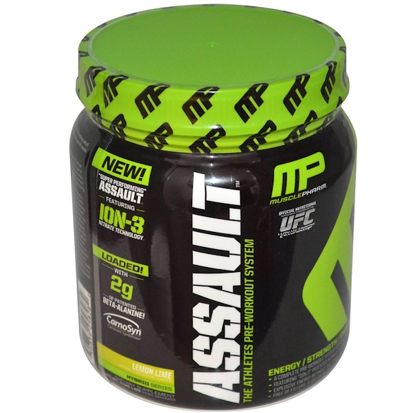 MusclePharm, Assault, Pre-Workout System, Lemon Lime, 0.96 lbs (435 g) (Discontinued Item)