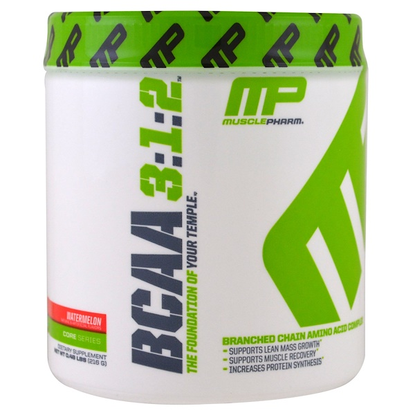 MusclePharm, Core Series, BCAA 3:1:2, Watermelon, 0.48 lbs (216 g) (Discontinued Item)