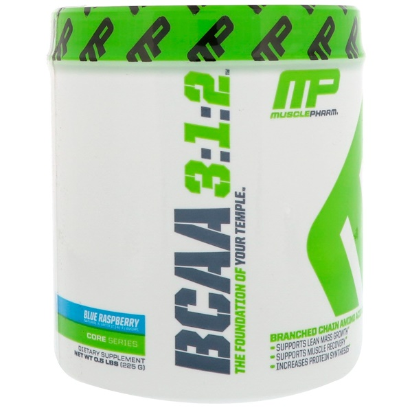 MusclePharm, BCAA 3:1:2, Blue Raspberry, 0.5 lbs (225 g) (Discontinued Item)