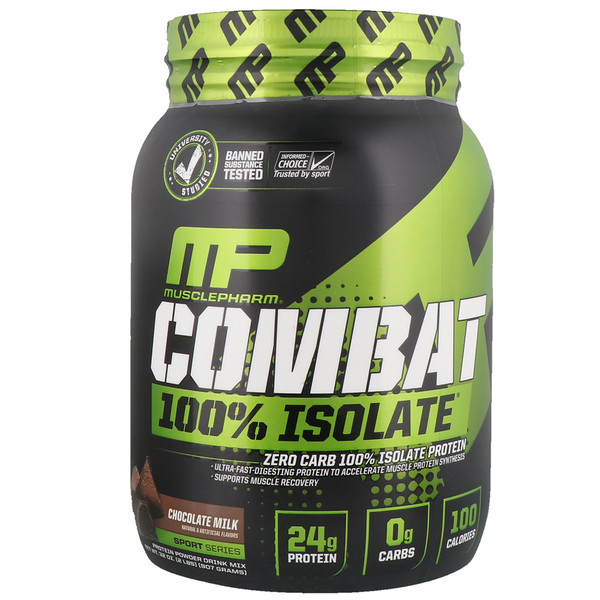 MusclePharm, Combat 100% Isolate Protein, Chocolate Milk, 2 lbs (907 g) (Discontinued Item)