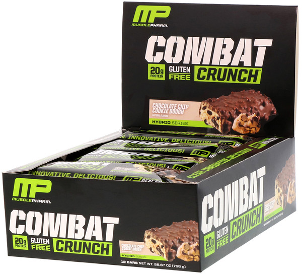 MusclePharm, Combat Crunch, Massa de Biscoito de Chocolate, 12 Barras, 63 g Cada
