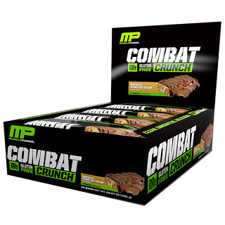 MusclePharm, Combat Crunch Bar, Chocolate Peanut Butter Cup, 12 Bars, 63 g Each