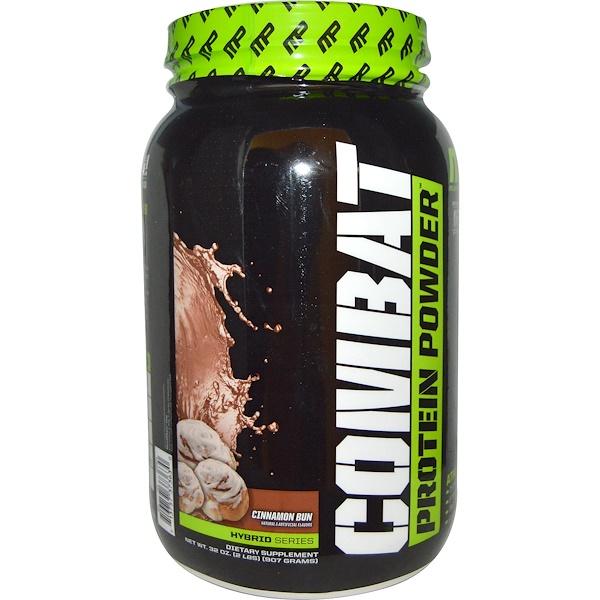 MusclePharm, Hybrid Series, Combat Protein Powder, Cinnamon Bun, 32 oz (907 g) (Discontinued Item)